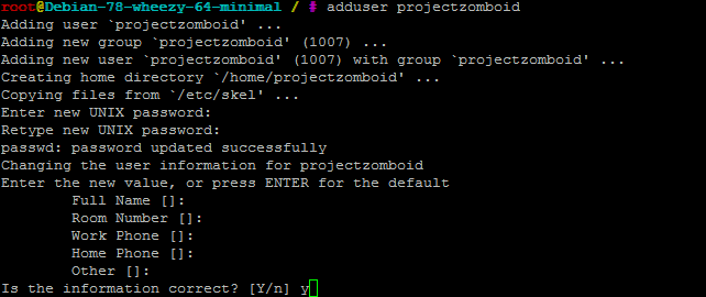 Project Zomboid linux useradd